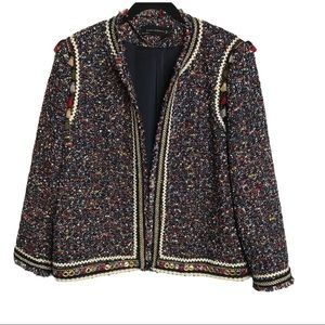 Zara Multi-Color Tweed Tassels Jacket Size: Large